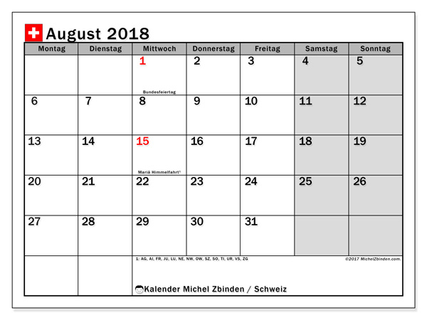 Kalender August 2018, Feiertage in Schweiz