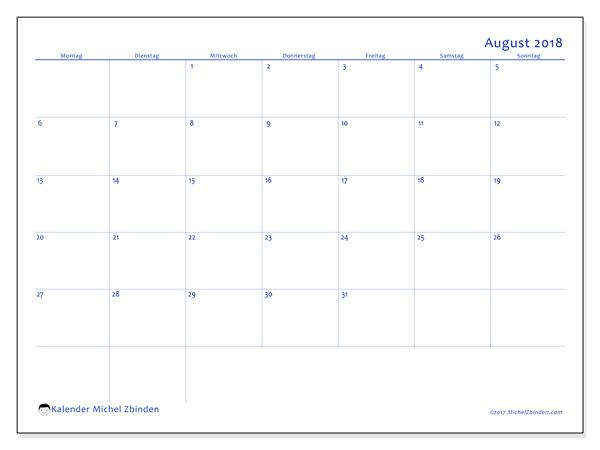 Kalender August 2018, Ursus