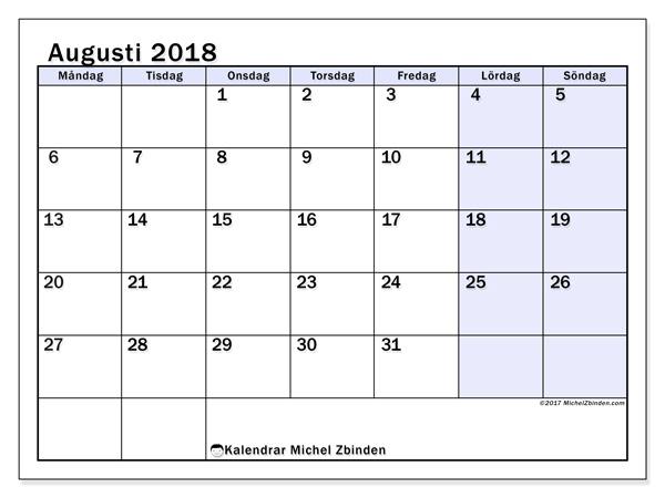 Kalender augusti 2018, Auxilius
