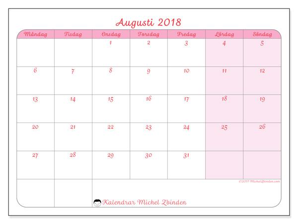 Kalender augusti 2018, Generosa
