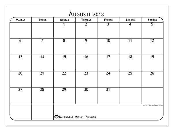 Kalender augusti 2018, Marius
