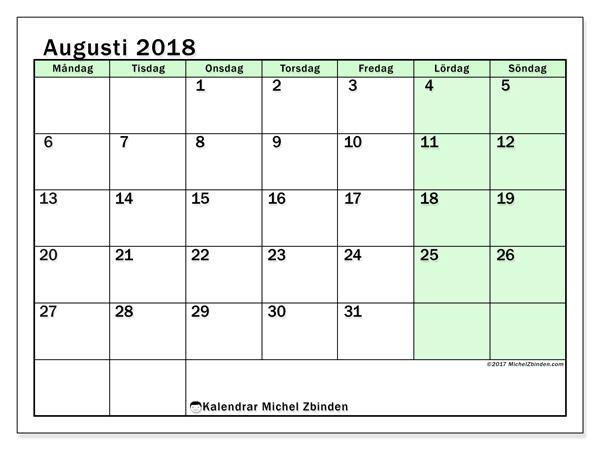 Kalender augusti 2018, Nereus