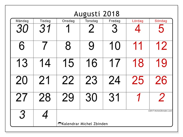 Kalender augusti 2018, Oseus