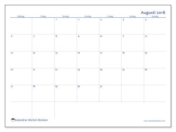 Kalender augusti 2018, Ursus