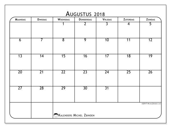 Kalender augustus 2018, Marius