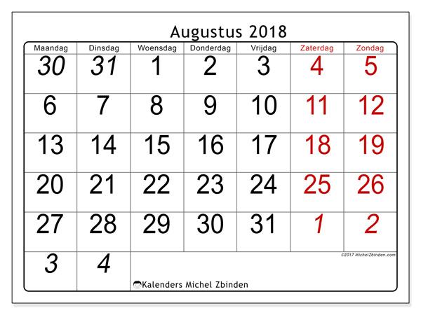 Kalender augustus 2018 - Oseus (nl)