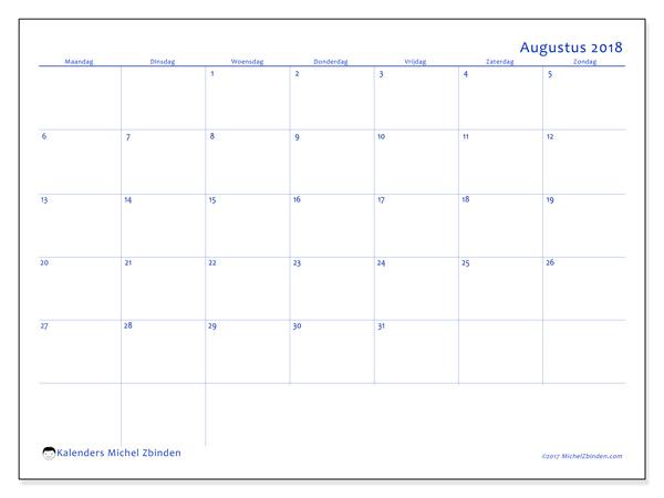 Kalender augustus 2018, Ursus