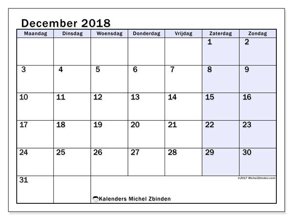 Kalender december 2018, Auxilius