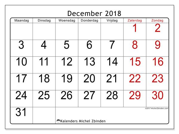 Kalender december 2018, Emericus