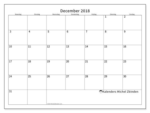 Kalender december 2018, Horus