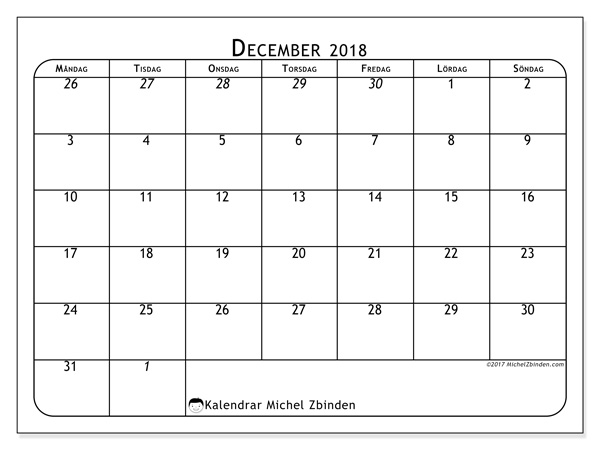 Kalender december 2018, Maximus