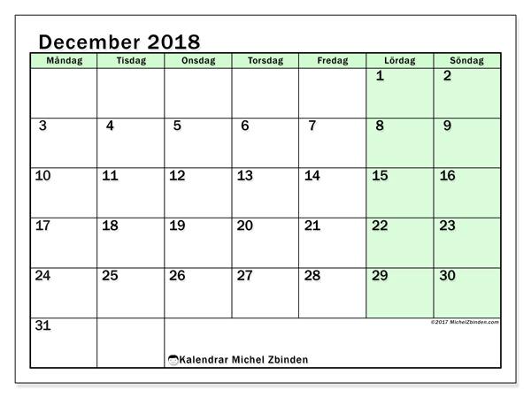 Kalender december 2018, Nereus