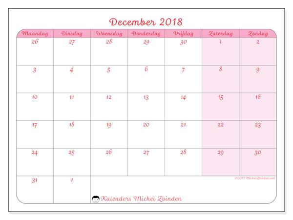 Kalender december 2018, Rosea
