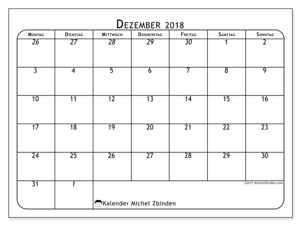 Kalender Dezember 2018, Maximus