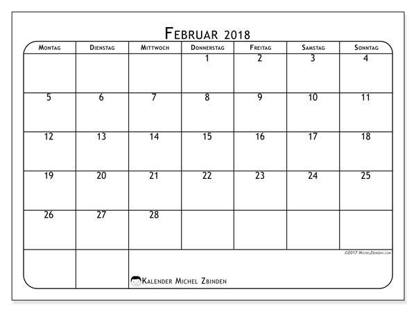 Kalender Februar 2018, Marius