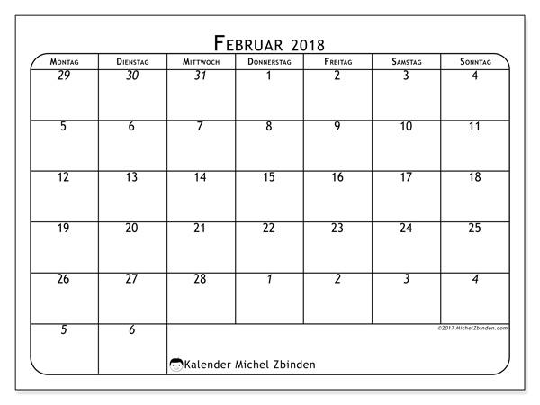 Kalender Februar 2018, Maximus