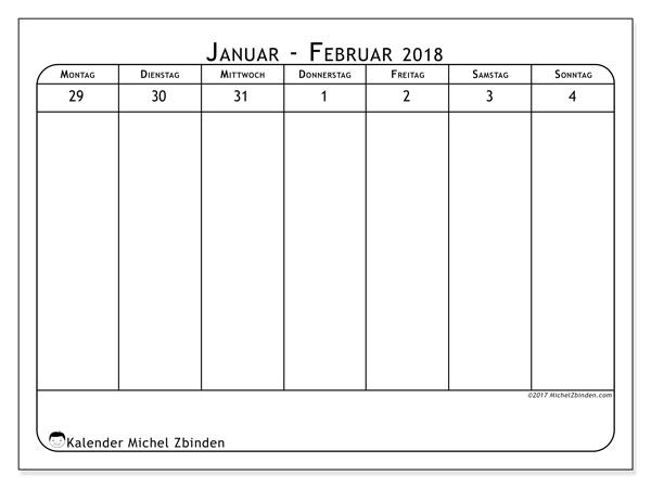 Kalender Februar 2018, Septimanis 1