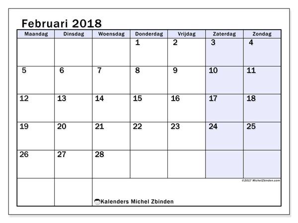 Kalender februari 2018 - Auxilius (nl)