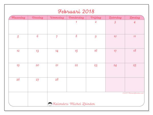 Kalender februari 2018, Generosa