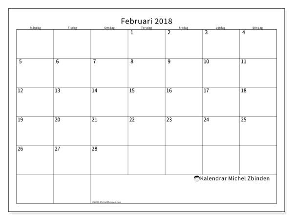 Kalender februari 2018, Horus