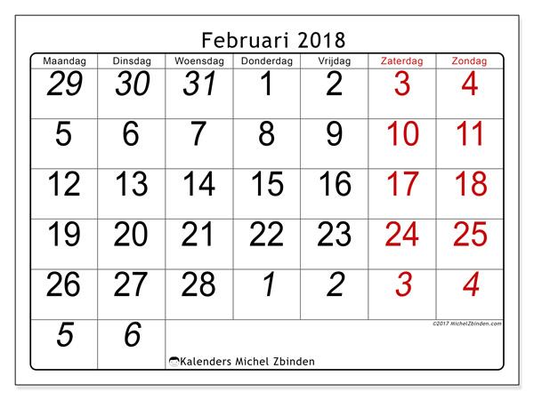 Kalender februari 2018, Oseus