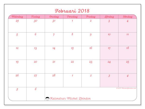 Kalender februari 2018, Rosea