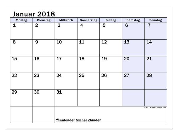 Kalender Januar 2018, Auxilius