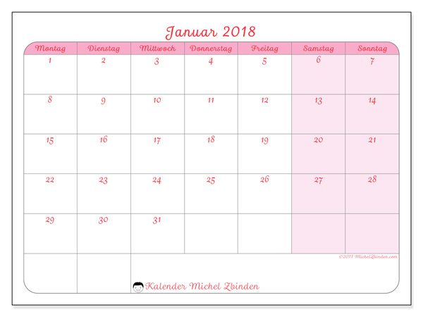 Kalender Januar 2018, Generosa