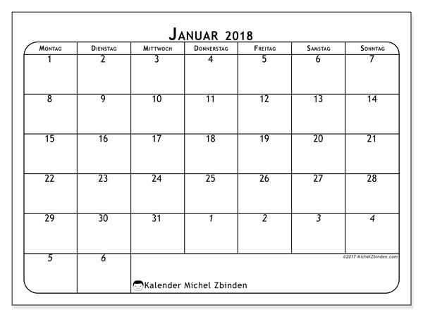 Kalender Januar 2018, Maximus