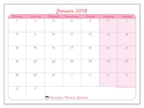 Kalender Januar 2018, Rosea