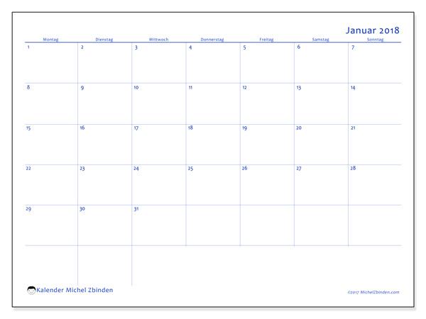 Kalender Januar 2018, Ursus