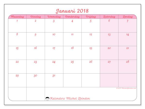 Kalender januari 2018, Generosa