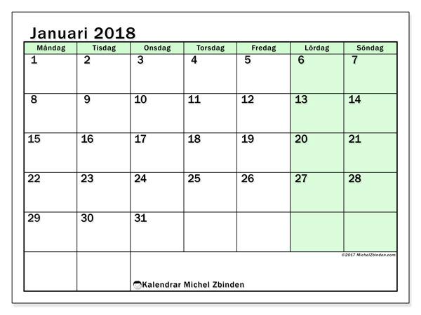 Kalender januari 2018, Nereus