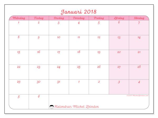 Kalender januari 2018, Rosea