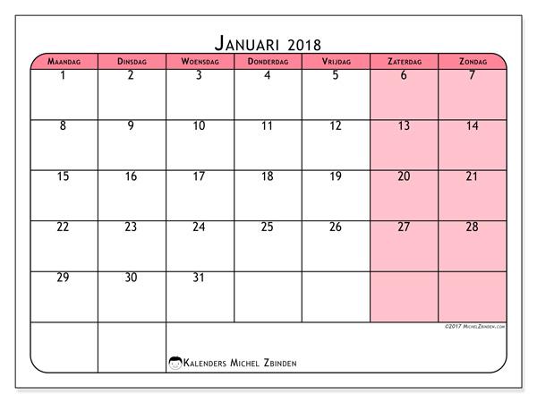 Kalender januari 2018 - Severinus (nl)
