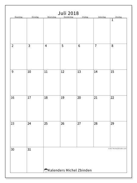 Kalender juli 2018 - Antonius (nl)