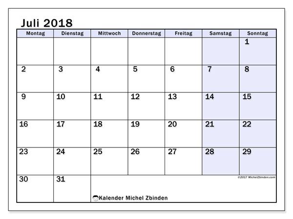 Kalender Juli 2018, Auxilius
