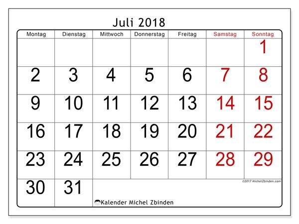 Kalender Juli 2018, Emericus