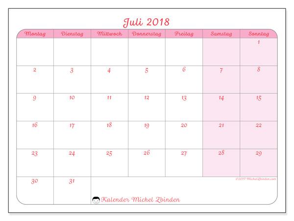 Kalender Juli 2018, Generosa