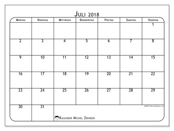 Kalender Juli 2018, Marius