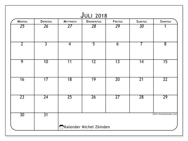 Kalender Juli 2018, Maximus