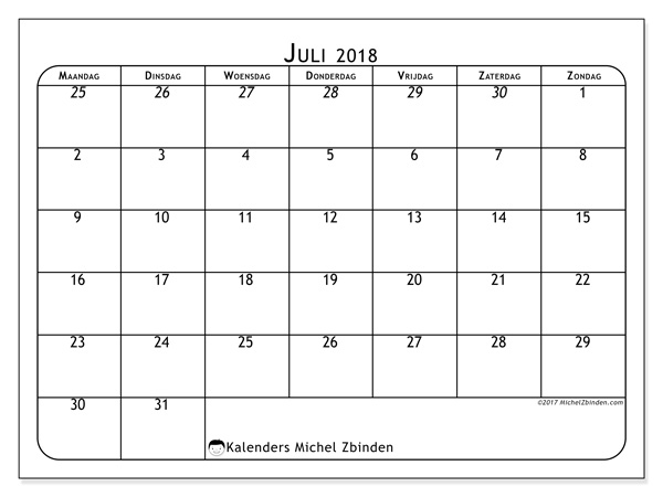Kalender juli 2018 - Maximus (nl)