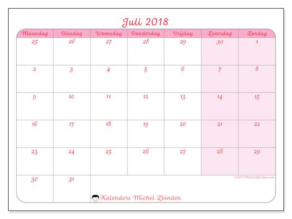 Kalender juli 2018, Rosea