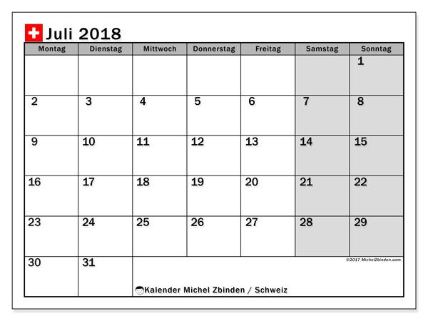 Kalender Juli 2018, Feiertage in Schweiz