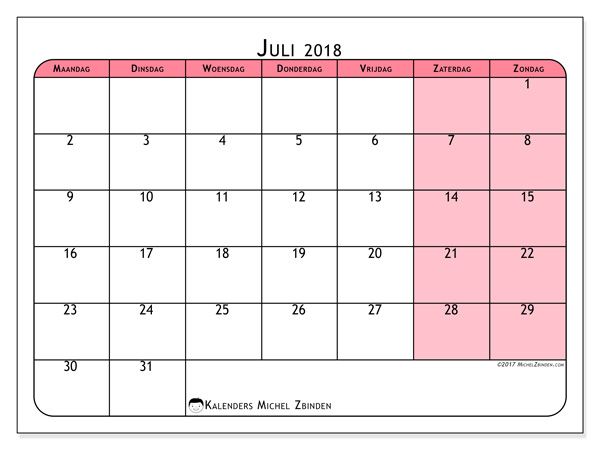 Kalender juli 2018 - Severinus (nl)