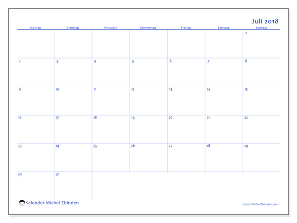 Kalender Juli 2018, Ursus