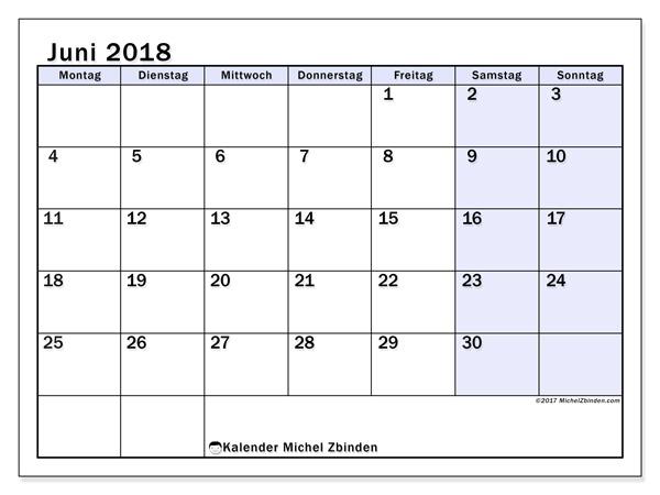 Kalender Juni 2018, Auxilius