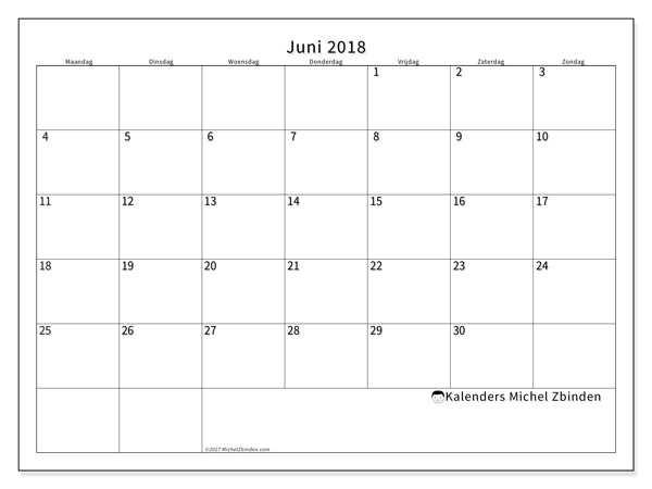 Kalender juni 2018 - Horus (nl)