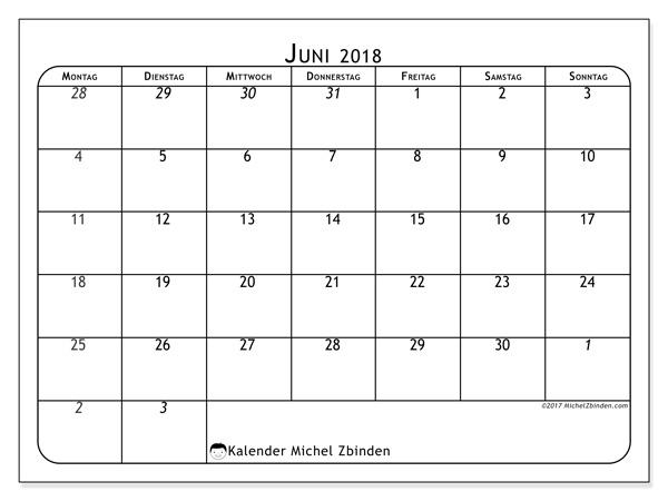 Kalender Juni 2018, Maximus