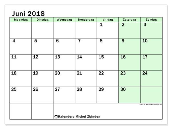 Kalender juni 2018 - Nereus (nl)